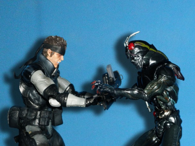 """Black: """"Give it to me! This is mine!"""" Snake: """"Hey, this is my parts, son of a hopper!"""""""