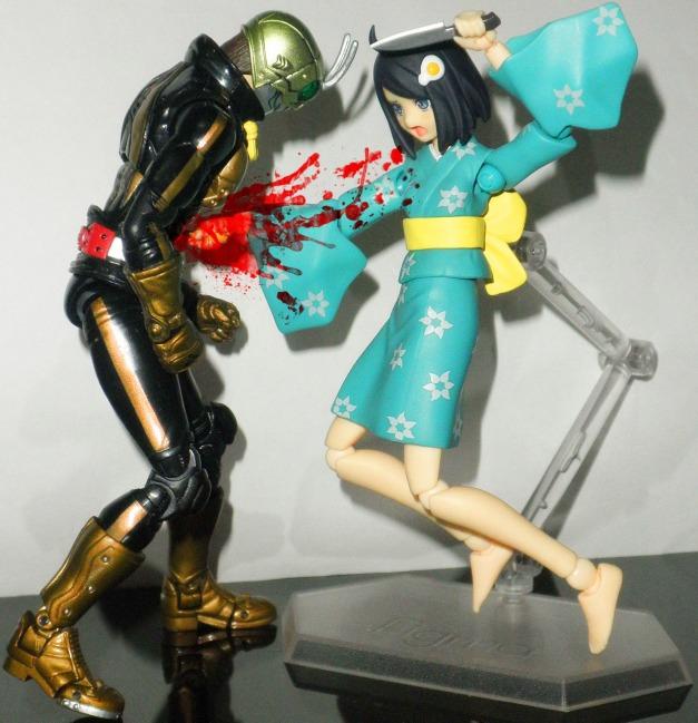 """Tsukihi: """"HAIYAAAAAHH!!""""Shocker Rider: """"GWAAAAHHH!!"""""""