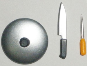 Pan Lid, Kitchen Knife. & Awl