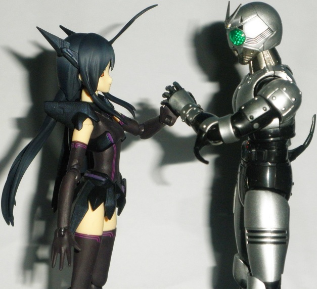 """Kuroyukihime: """"No you're strong & more powerful than me. You can even destroyed my Battle Assault mode."""" ShadowMoon: """"I'm happy to have a match with you. But I cannot accept your feeling on me."""" Kuroyukihime """"Eh? Why?"""
