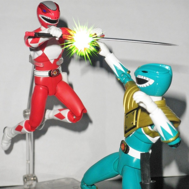 "Red Ranger: ""HYAAH!!"" Dragon Ranger: ""Geki, snap out off it!! I don't want to hurt you, brother!!"""