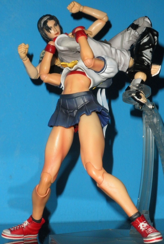Strangling her...