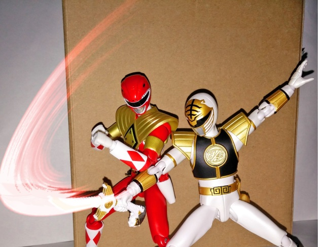 "A-Kibaranger: ""SABA Attack!!"" Armed Tyranno Ranger: ""Since when did you have a falcon attack, Kibaranger?!"""