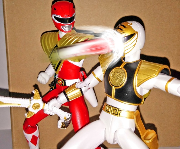 "Armed Tyranno Ranger: ""Your US Counterpart disgrace me alot! Because of you, I rarely shown in the US counterpart!!"" A-Kibaranger: ""AKH..."""