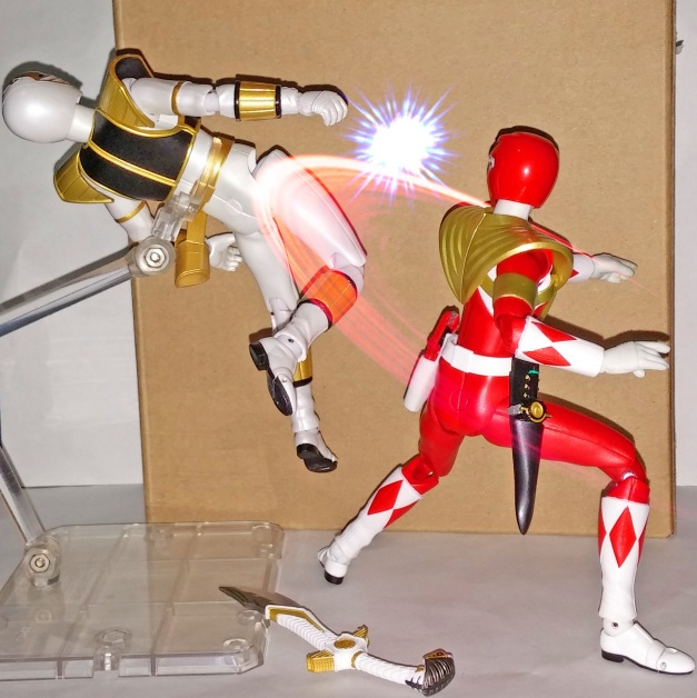 "Armed Tyranno Ranger: ""Even If I don't belong to US, it's still made me lost my pride!!"" A-Kibaranger: ""HAAAKH..."""