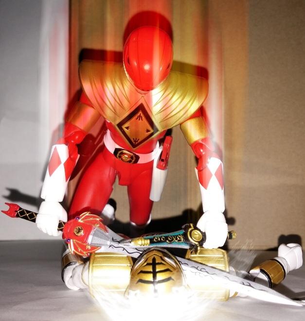 """Armed Tyranno Ranger: """"COMBINED ATTACK!!"""" A-Kibaranger: """"GHEAAAAAAKH......"""""""