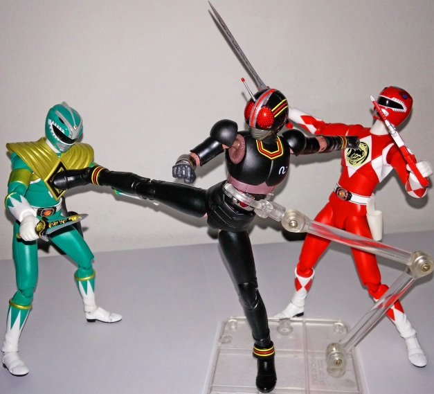 """BLACK Knight Steel: """"You guys are nothing for the true legend like me!!"""" Red & Green Ranger: """"GHUAAAKH...."""""""