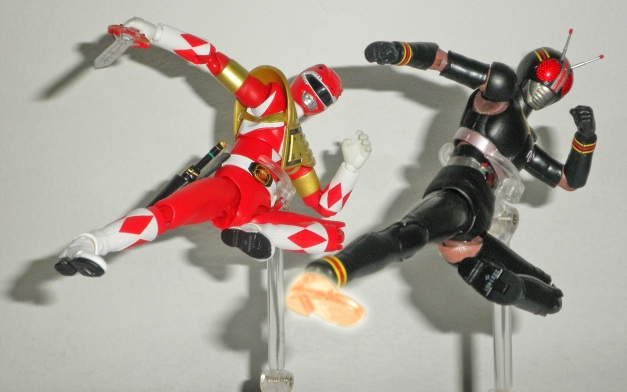 """Armed Tyranno Ranger: """"RANGER KICK!!"""" BLACK Knight Steel: """""""" RIDER KICK!!"""""""