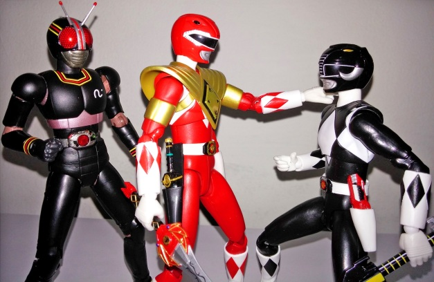 """Armed Tyranno Ranger: """"You okay, Goushi?"""" Mammoth Ranger: """"Geki?! How did you..."""" BLACK Knight Steel: """"Later, we must defeat those brainwashed Rangers & my archenemy!!"""""""