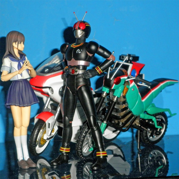 "Nene: ""Whoa... You got 2 bikes, BLACK-san."" BLACK: ""Hahahaha... Yeah, & they're a living bikes as well, they will be here if I call them."" Nene: ""Huh? They're a living bikes?"" BLACK: ""I'll show you then..."""