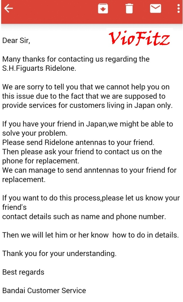 Contact with Bandai Japan
