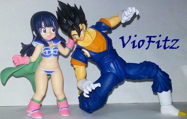 "Chi-Chi: ""What in the world are you doing here?! Slacking off again, huh Goku-sa?!"" Vegetto: ""Ggaaahh?! Chi-Chi?!"""