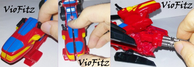 1st: Move 2 joystick upward 2nd: Open the front body 3rd: Attach the turret & close the body again.